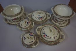 A Part Late Victorian Dinner Set by Royal Worcester, Comprising of mainly tureens, decorated with