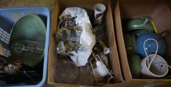 A Mixed Lot of Sundries and Pictures, to include green glazed bowls by Brannan, table lamps,
