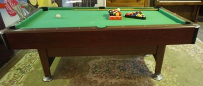 7ft Pool Table, with balls and cues, 85cm high