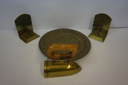 A Small Mixed Lot of Brass Wares, to include a trench art style brass flat iron with wood handle,