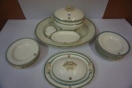 A Part Late Victorian Pottery Dinner Set by Copeland, to include meat platter, tureen, soup bowls,