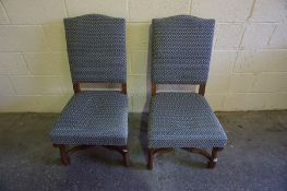 A Pair of Victorian Mahogany Hall Chairs, Having later upholstery, original needlepoint upholstery