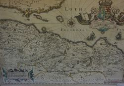 After Timothy Pont, Antique Hand Coloured Map of West Lothian, Edinburgh and Part of Fife, 39.5cm