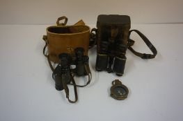 A Pair of WWI British Military Issue Binoculars, Having arrow stamp, 10cm high, with original