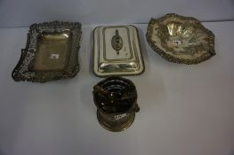 A Mixed Lot of Silver Plated Wares, to include an oak cutlery box, cake basket, entree dish etc, (