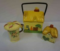 Three Pieces of Carlton Ware, to include a chocolate cup with cover, and a biscuit box modelled as a
