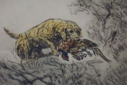 "Henry Wilkinson (British 1921-2011) ""Gun Dog with Prey"" Signed Limited Edition Coloured Etching,"