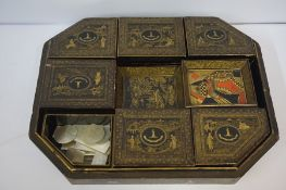 Japanese Export Lacquered Work Box with Contents, Probably Meiji period, the box is decorated with