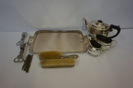 Two Silver Backed Brushes, also with a silver propelling pencil and three others, and a small lot of