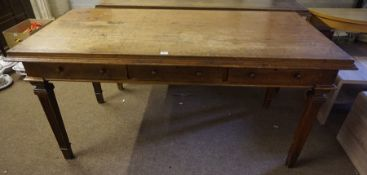 A Pair of Mahogany Library Tables, circa 19th century, Stamped to inside of drawer for Gillows of