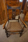 Set of Six Jacobean Revival Oak Dining Chairs, to include two carvers, 110cm high, (6)