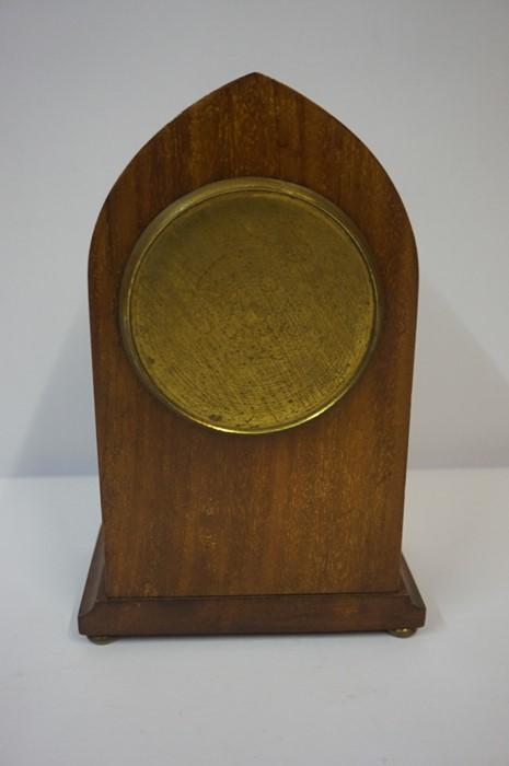 Lot 50 - Edwardian Mahogany Inlaid Lancet Shaped Mantel Clock, 22.5cm high