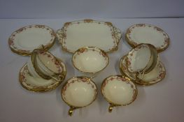 Cauldon Porcelain Six Piece Tea Set, Having gilded decoration to rim, (20)