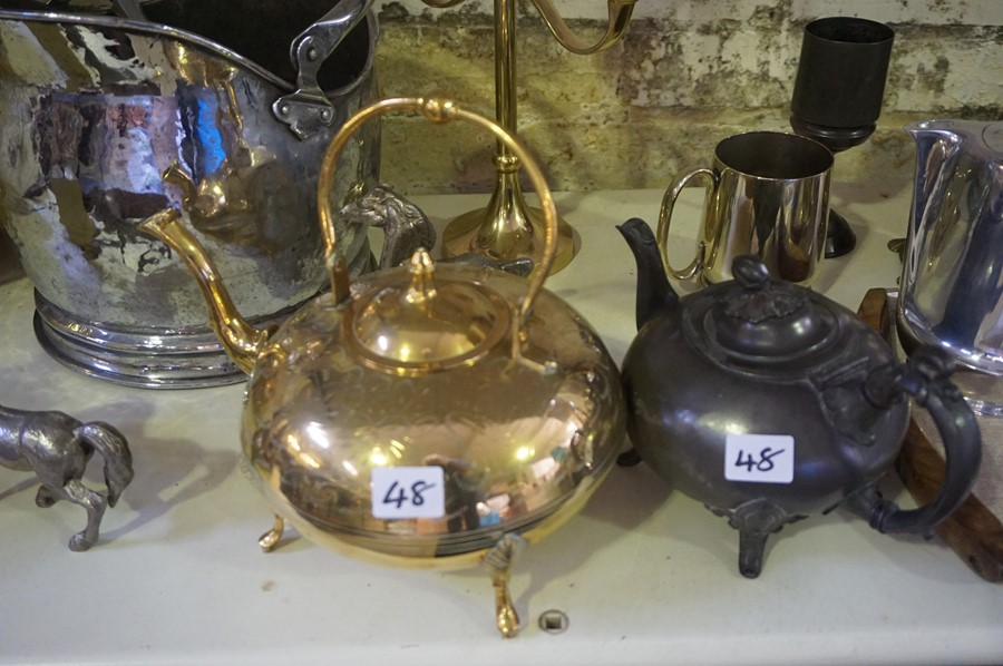 Lot 48 - A Mixed Lot of Brass,Copper and Plated Items, to include a piquot ware tea set on tray, copper