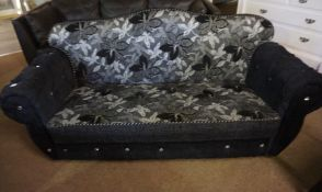 Modern Black Velour Bed Settee, Decorated with floral panels, 88cm high, 184cm wide