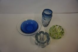 Orefors Glass Vase, Signed to underside, 14cm high, also with three pieces of Art glass, to