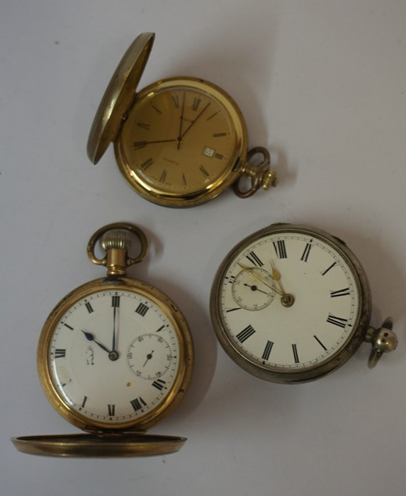 Lot 24 - Victorian Silver Open Faced Pocket Watch, Lacking dial cover, also with a rolled gold full hunter