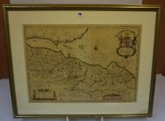 After Johannes Blaue, Antique Hand Coloured Map of West Lothian, Edinburgh and Part of Fife, 39cm