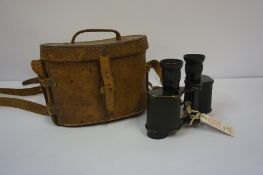 A Pair of WWII Field Binoculars by Kershaw & Son, No 3, mark II, with a fitted leather case