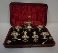 Silver Seven Piece Condiment Set, Hallmarks for London 1927-28, with four spoons, in fitted case,