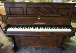 Walnut Cased Upright Piano by Robert Morley & Co Lewisham London, 116cm high, 138cm wide