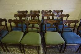 Thirteen Matching Victorian Scottish Mahogany Dining Chairs, Comprising of twelve side chairs and