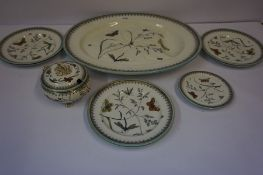 A Part Victorian Nine Piece Pottery Dinner Set by Apollo, to include meat platter, sauce tureen