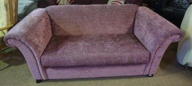 Modern Purple Velour Two Seater Sofa, 68cm high, 177cm wide