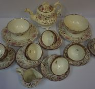 Victorian Rockingham Style Lustre China Tea Set, to include tea pot, biscuit plates, saucers and