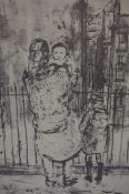 "Sander (Contemporary) ""Mother with Children"" Charcoal, signed Sander 63 to lower right, 42cm x 33cm,"