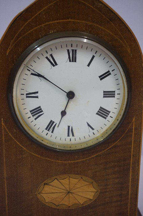 Lot 50 - Edwardian Mahogany Inlaid Lancet Shaped Mantel Clock, 22.5cm high