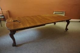 Chippendale Style Oak Extending Dining Table, circa early 20th century, Having two pairs of
