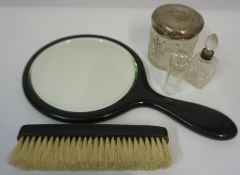 Vintage Ebony Hand Mirror and Clothes Brush, also with a toilet jar with silver lid, and a toilet