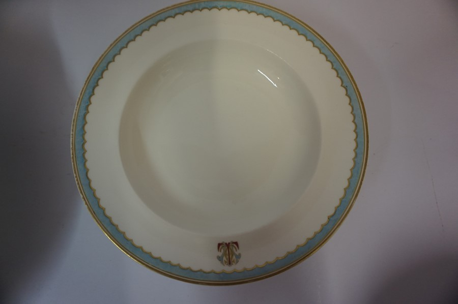 Lot 55 - A Part Late Victorian Pottery Dinner Set by Copeland, to include meat platter, tureen, soup bowls,