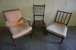 A Pair of His and Hers Rosewood Bobbin Armchairs, circa 19th century, Having later upholstered