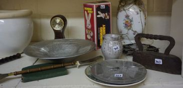A Mixed Lot of Sundries, to include a world globe, police truncheon, mantel clock, flat iron etc,