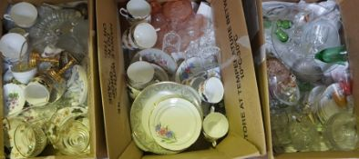 Three Boxes of Sundry China and Glass