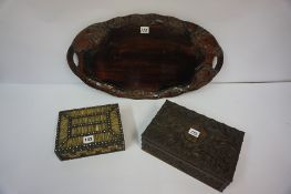 Porcupine Quill Box, 6cm high, 21cm wide, also with a Burmese carved wood box, and a lacquered tray,