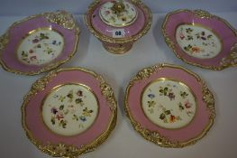 A Part Victorian Porcelain Fruit Service, Comprising of two comports, five side plates and tureen,