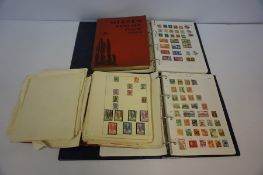 Four Stamp Albums, to include World and British stamps, circa 1950s, (a lot)