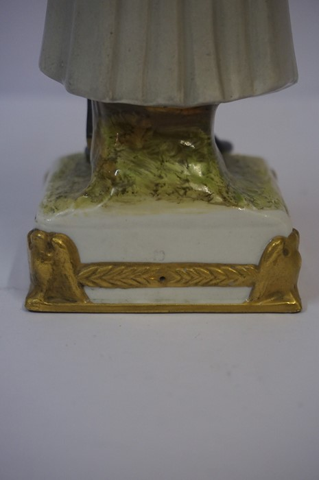Lot 32 - Sitzendorf Porcelain Figure of Napoleon Bonaparte, Raised on a fixed gilded plinth, stamped with