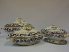 Five Assorted Victorian Tureens by Merion Japan and Minton, also with three similar dishes, (8)