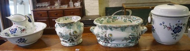 Three Pieces of Pottery Toilet Wares by Leighton, Comprising of ewer, basin and slop pail, also with