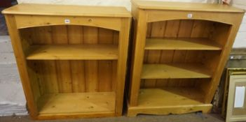 Two Near Matching Modern Pine Open Bookcases, Largest 106cm high, 96cm wide, 36cm deep, (2)