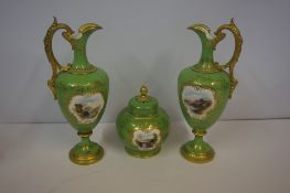 Coalport Porcelain Three Piece Garniture, circa early 20th century, Comprising of two ewers with pot