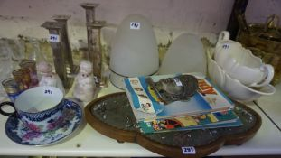 A Mixed Lot of Sundry China, Glass and Bric a Brac, to include a Victorian bead work kettle stand,