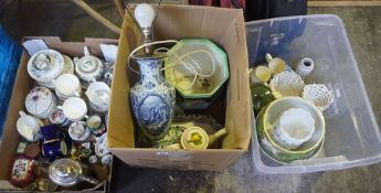 A Large Quantity of Porcelain and Pottery, to include a Royal Doulton jardiniere, patch boxes, tea