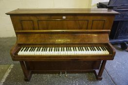 Upright Walnut Piano by B Squire & Son London, 110cm high, 56cm wide