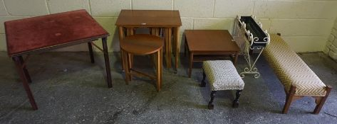 A Mixed Lot of Occasional Furniture, to include a Victorian oak footstool, nest of tables, fender