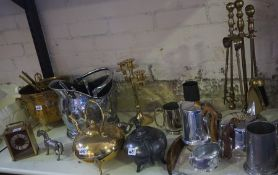 A Mixed Lot of Brass,Copper and Plated Items, to include a piquot ware tea set on tray, copper